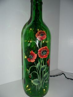 Painted Bottles With Lights Inside | Poppy Lighted Wine Bottle Hand Painted 750 ml | Flickr - Photo Sharing ...