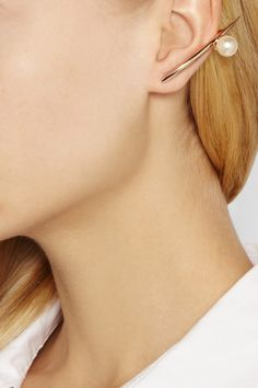 Ryan Storer|Rose gold-plated Swarovski pearl earrings|NET-A-PORTER.COM