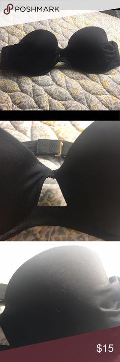 Victoria's Secret Black Bandeau Victoria's Secret Black Bandeau with triangle center and gold details. Victoria's Secret Swim Bikinis