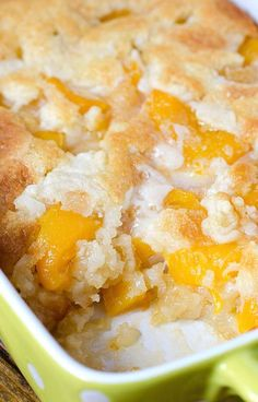 Peach cobbler from Ram Country Meats Mix 3 cups flour, 3 cups sugar, 3 tsp baking powder, 2.5 cups milk, 3 squirts of vanilla. Add to melted butter. Pour in a can of peaches (drained). Sprinkle with brown sugar and cinnamon. Bake until golden brown and doesn't wobble when shook. Bake at approx. 50 min at 375