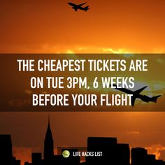 The best time to buy your plane ticket is Tue 6 weeks before your flight. - Collection of super handy and creative hacks, tips and ideas. Buying Plane Tickets, Buy Airline Tickets, Airline Travel, Cheap Plane Tickets, Life Hacks List, Teen Life Hacks, Hiking Tours, Travel Rewards, Cheap Travel