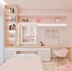 Wardrobe Design Bedroom, Room Design Bedroom, Girl Bedroom Designs, Room Ideas Bedroom, Small Room Bedroom, Home Room Design, Cute Room Decor, Study Room Decor, Bedroom Decor For Teen Girls