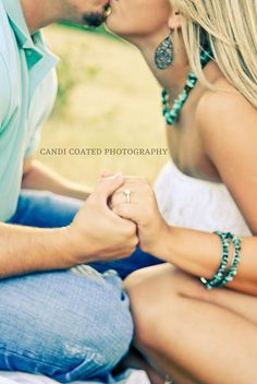 Engagement, simple but so freaking cute. Girl in white with accessories to match her man's shirt!