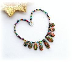 Handmade Fashion Jewellery - Natural Multicolored Sea Sediment Jasper and Agate Gem Necklace  Necklace length 47,5cm (approx: 18)  Comes in pretty