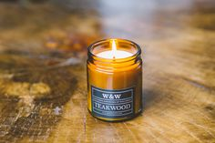 SALE Teakwood  9oz Pure Soy Wax Candle in Amber by waxandwooletc