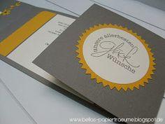 Natürlich kommt das neue  Pünktchenpapier  auch gleich zum Einsatz!  Im Kombination mit grau und vanille macht sich dieses dezente gelb doch...