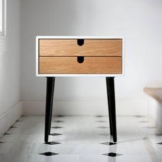 Table de chevet blanc / Table de nuit scandinave par Habitables, €285.00