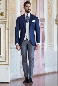 Tailored suits and jackets, the true Made in Italy by Sartoria Rossi – Tailor Made - Care for details Groom Morning Suits, Wedding Morning Suits, Best Groom Suits, Dapper Suits, Blue Wedding Suit Groom, Wedding Suits, Classy Suits, Cool Suits, Black Suit Vest