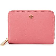 Tory Burch Robinson Zip Coin Case ($115) ❤ liked on Polyvore featuring bags, wallets, cosmo, change purse, leather coin pouch, leather coin purse, leather zip wallet and leather change purse