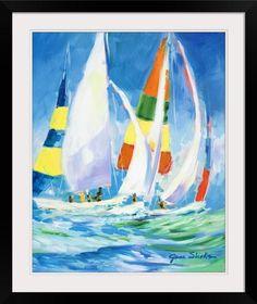Jane Slivka Solid-Faced Canvas Print Wall Art Print entitled Come Sail Away Sailboat Art, Sailboat Painting, Canvas Wall Art, Canvas Prints, Art Prints, Big Canvas, Framed Artwork, Framed Prints, Framed Wall