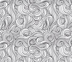Clouds in Comic Black  fabric by sparrowsong on Spoonflower - custom fabric