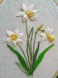 embroidered daffodils