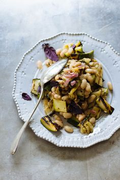 provençal white bean salad / the clever carrot (grilled zucchini, shallot, olive oil, red wine vinegar, dried oregano, fresh oregano - optional, cooked cannellini beans, fresh basil)