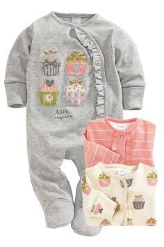 Newborn Sleepwear - Baby Sleepwear and Infantwear - Next Cupcake Sleepsuits Three Pack - EziBuy Australia