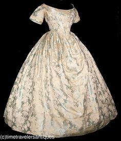 Fetching c1860 Civil War Era Silk Brocade Gown