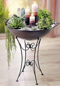 Pflanzschale mit Ständer Deko Schale Pflanzen Garten Ornamente Nostalgie NEU