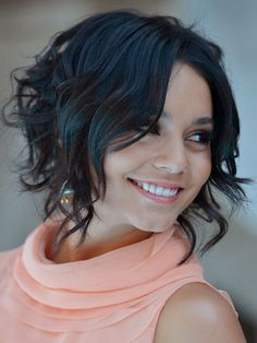 "Chin-length: Vanessa Hudgens  Here's a fun way to switch up your look! Even if you don't have a true graduated bob, you can achieve the longer-in-front look with some strategic curling. Use a larger barrel curling iron (1"" or 1-1/4"") in front to create looser waves from about the eyebrows down, then go smaller (3/4"") in back for tight, springy curls, starting about an inch or two from your roots."