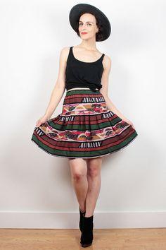Vintage 80s Mini Skirt Southwestern Stripe by ShopTwitchVintage #1980s #80s #boho #southwestern #mini #skater #skirt #etsy #vintage