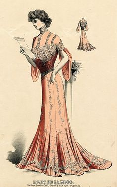 A timelessly beautiful peachy-salmon hued evening dress from 1904. The type of elegant day wear that Lady Marjorie Bellamy would have worn to peruse menus, invitations and tradesmens bills.