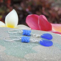 Enchanting Treasures Earrings with rare cobalt blue sea glass that was found on the beaches of Rincon, Puerto Rico.