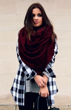 black and white checkered shirt and big scarf. Little black coconut style