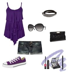 """""""Short Shorts and Tank Top Outfit #2"""" by unicornland ❤ liked on Polyvore featuring Yves Saint Laurent, Converse, Kitson, Giuseppe Zanotti, NARS Cosmetics, ELF Cosmetics, Dorothy Perkins and Oliver Peoples"""