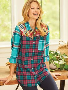 """These flannel shirts are great by themselves or layered with a long sleeve t-shirt on colder days. They're soft, warm, and delightfully colored and the embroidery is a total icing on the cake..."" ~ Happy customer on our Embroidered Flannel Shirt from Blar Flannel Shirts, Cold Day, Lounge Wear, Icing, Plaid, Plus Size, Quote, Warm, Fashion Outfits"