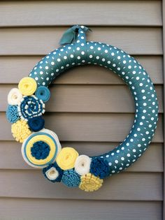 Spring Wreath - Blue & White Polka Dot Ribbon Decorated with Felt Flowers. Easter Wreath - Summer Wreath - Ribbon Wreath - Felt Flower Wreat via Etsy