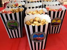 Disney cars kids party personalised popcorn boxes by www.toffeeappleevents.com