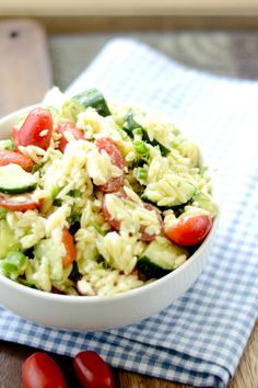 Yum....Greek Orzo Salad with Mustard-Dill Vinaigrette Bobby Flay - Recipe Diaries