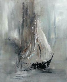 Peinture abstraite, représentant selon moi un voilier dans un brouillard peu joyeux. La peinture est très froide aux indices de gris, de noir et de blanc, je suis prête à dire que cette toile n'est pas abstraite, mais l'artiste a voulut sortir nos émotions au fond de nous et les faire ressortir. Au fond, nous avons des opinions différents sur cette oeuvre et chacuns doit les exprimées de façon différentes!