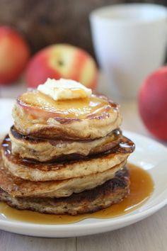 Greek Yogurt Peach Pancakes via @Mary Powers Powers | The Kitchen Paper