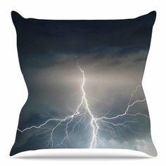 """East Urban Home Lightning Storm Throw Pillow Size: 20"""" H x 20"""" W x 4"""" D"""