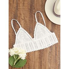 633096e71fa6f SheIn(sheinside) White Crochet Crop Cami Top ( 10) ❤ liked on Polyvore