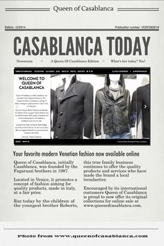 Yay, we're online! – Queen of Casablanca   www.queenofcasablanca.com  Follow us on Facebook for discounts, offers, and the latest updates on Italian fashion:  www.facebook..com/queenofcasablanca  #Venice #Venezia #italy #madeinitaly #fashion #menfashion #men #moda #modauomo #queenofcasablanca #authentic #ownproduction #authentic #cool #beautiful #original #trendy #italian #online #casual #onlineshopping #imperial #imperialfashion #imperialpeople #discount #news #offers #coupons
