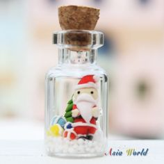 Santa Claus clay doll and Christmas tree clay miniature in bottle, Christmas world in tiny bottle phone strap,ornament, Noel clay decoration...