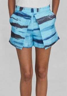 And Other Stories   Water print shorts   Blue Greenish
