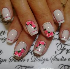 Uñas Diy Nail Designs, Nail Polish Designs, Gold Gel Nails, Acrylic Nails, French Nails, Spring Nails, Summer Nails, Cute Nails, Pretty Nails