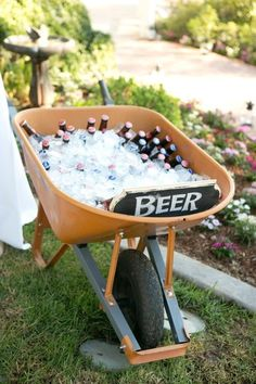 Serve up a wheelbarrow full of cold beer. Serve up a wheelbarrow full of cold beer. Garden Party Decorations, Outdoor Wedding Decorations, Garden Parties, Homemade Wedding Decorations, Beer Decorations, Outdoor Parties, Bbq Party, Beer Birthday Party, Trash Party