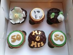 Golden anniversary cupcakes.. Magnolias for the Mrs and Elvis for the Mr