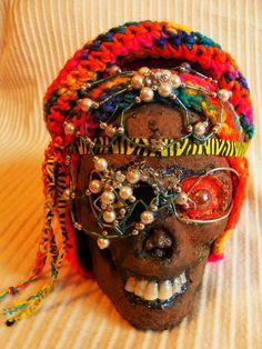 HALLOWEEN LIFE SIZE HIPPIE MAMA DECORATED SKULL NEW HANDMADE by ZEN #HANDMADE