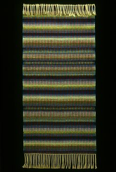 """Wynne Mattila -- """"Aurora"""" rug, shown on Weaving Today. __ Can be made on 2 harnesses. Size: x plus fringe lengths. Loom Weaving, Hand Weaving, Fabric Strips, Loom Knitting, Textile Prints, Woven Rug, Warm Colors, Rug Making, Wool Yarn"""
