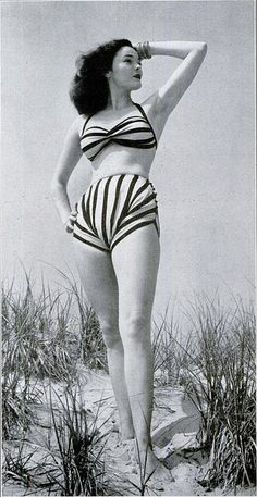 An instantly eye-catching striped halter bikini swimsuit from 1945.