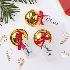 Gold Bell Place Card Holders// Red & Gold// Christmas Table Decorations // Guest Names // Place Cards // Christmas// XMAS// Party Decoration Christmas Car Decorations, Christmas Place Cards, Christmas Names, Christmas Table Settings, Christmas Store, Retro Christmas, Gold Christmas, Christmas Bells, Christmas Card Holders