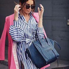 Saturday Style @vogueupcall wearing Zara Dress Shirt (old; similar 1165/057) #zara #stripes #stripeddress #blue #celine #pink #blueandwhite #zaradress #summerstyle #style #fashioninspiration #streetstyle #dress