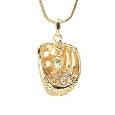 Crystal Accent Softball Glove with Hanging Ball Necklace