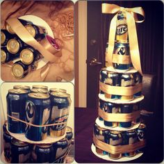 I made this beer cake to send with Jo to his bachelor party- the trick to keeping the cans together is rubber bands, not tape!!!  Beer cake wedding bachelor party vegas #beercake