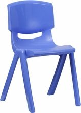 Blue Plastic Stackable School Chair with 18'' Seat Height | Childrens Stackable Chairs