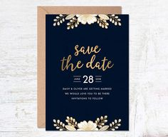 Gold Save the Date, Save the Date Template, Wedding Invitation Template, Luxury Invitation Set, Save the Date Printable, Navy Save the Date, Save the Date Postcard, Blue Save the Date, Modern Save the Date  -------------------------------------------  This navy floral save the date is a perfect way to invite your guests to your wedding. Customise your save the dates with your own personal details...  This save the date is available as either printed on high quality card, or as a digital file…