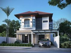 Selecting Your 2 Story House Plans With Master on Second Floor - Room Sizes Two Story House Design, Design Your Dream House, Small House Design, Modern House Design, Contemporary House Plans, Modern House Plans, Modern Houses, Small Cottage Designs, Beautiful Small Homes